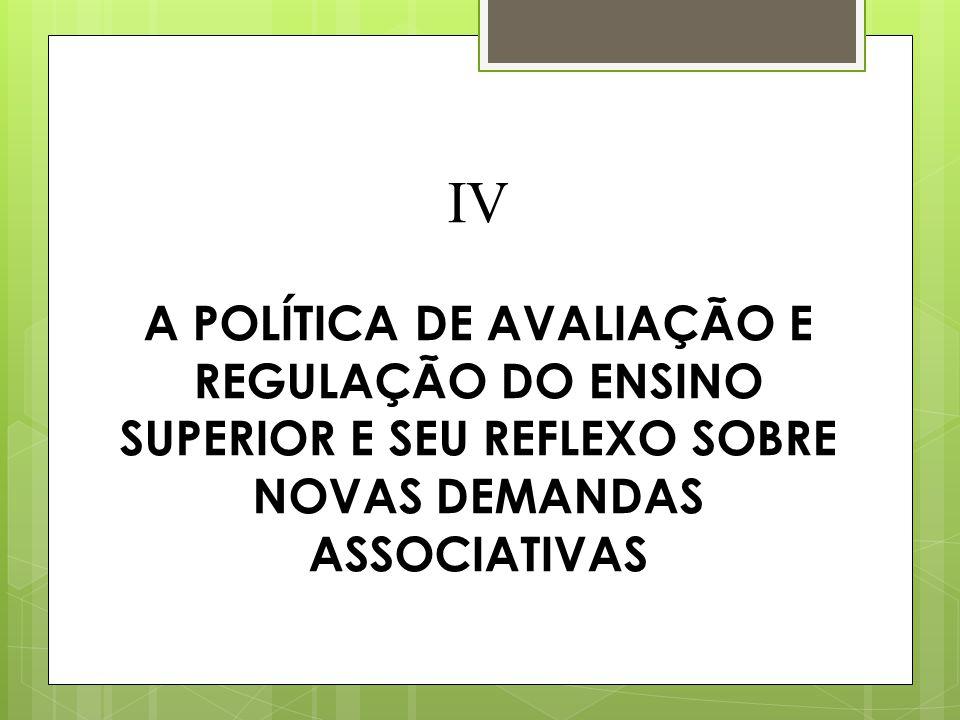 IV A POLÍTICA DE AVALIAÇÃO E REGULAÇÃO DO ENSINO SUPERIOR E SEU REFLEXO SOBRE NOVAS DEMANDAS ASSOCIATIVAS
