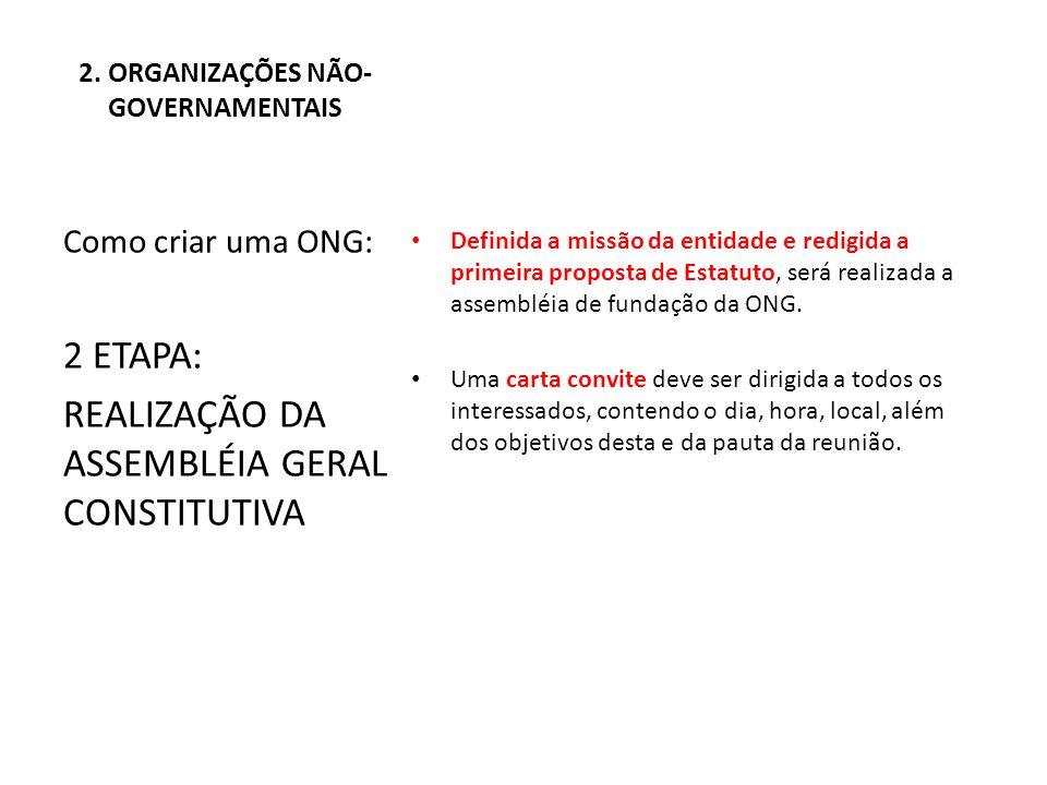 2. ORGANIZAÇÕES NÃO-GOVERNAMENTAIS