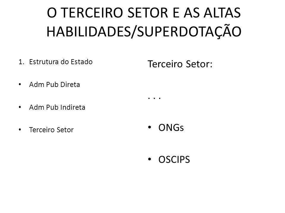 O TERCEIRO SETOR E AS ALTAS HABILIDADES/SUPERDOTAÇÃO