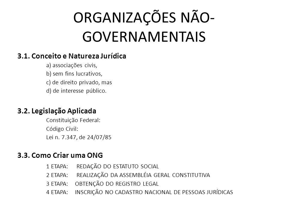 ORGANIZAÇÕES NÃO-GOVERNAMENTAIS