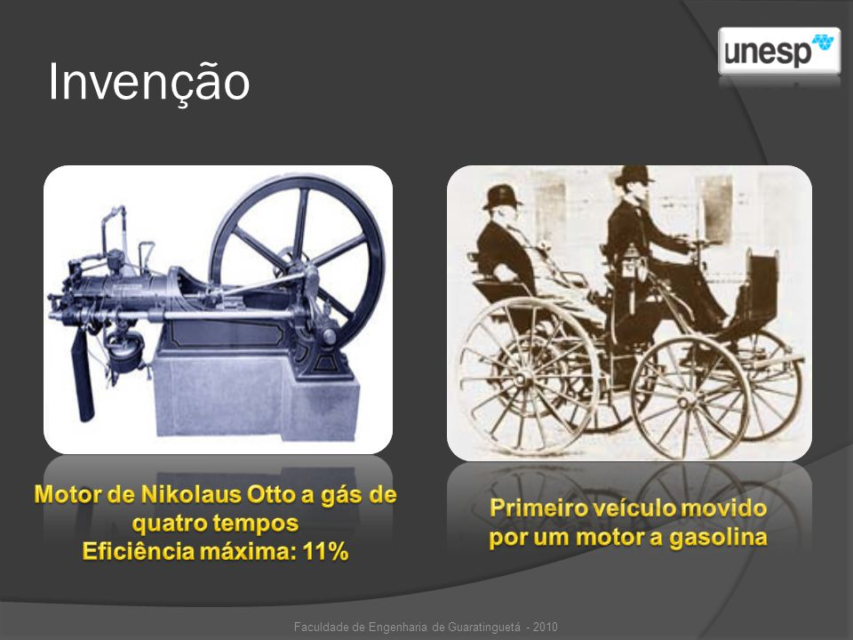 Invenção Motor de Nikolaus Otto a gás de quatro tempos