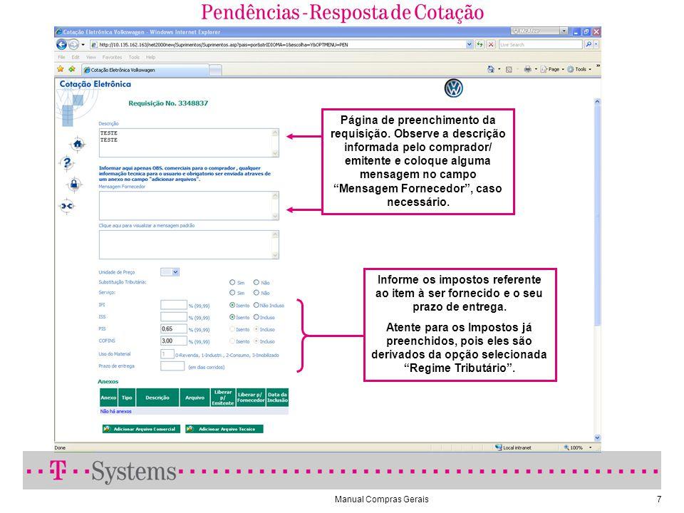 Pendências - Resposta de Cotação (Requisição de Material)