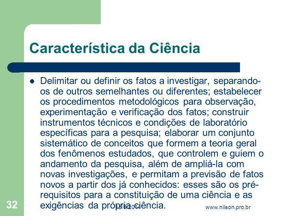 Característica da Ciência
