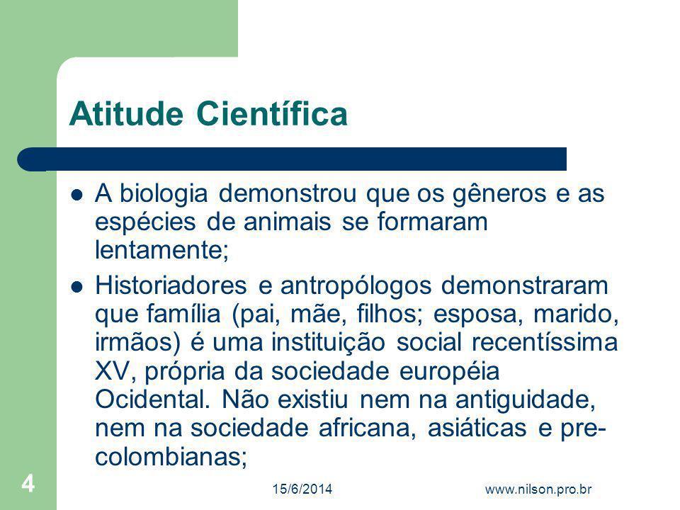 Atitude Científica A biologia demonstrou que os gêneros e as espécies de animais se formaram lentamente;