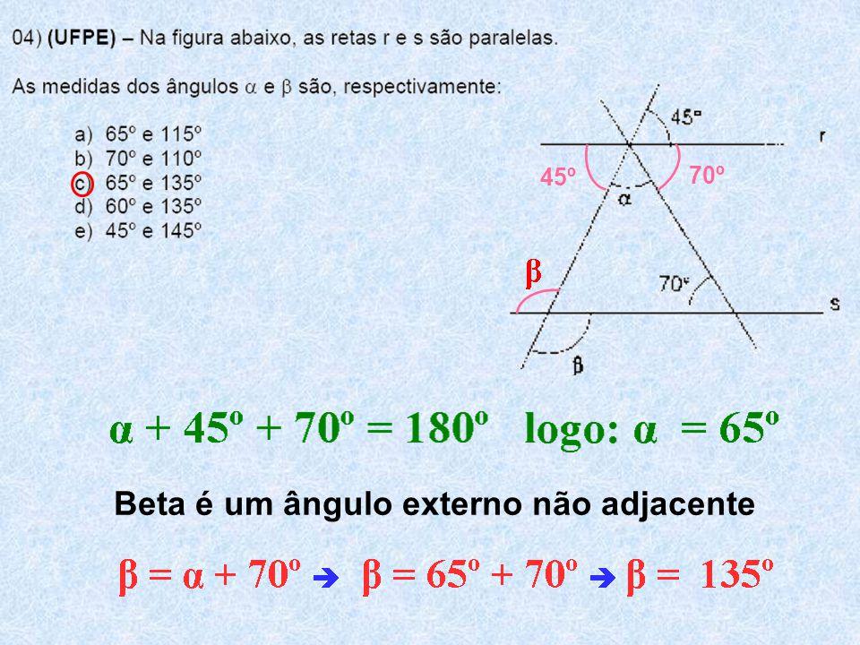 Beta é um ângulo externo não adjacente