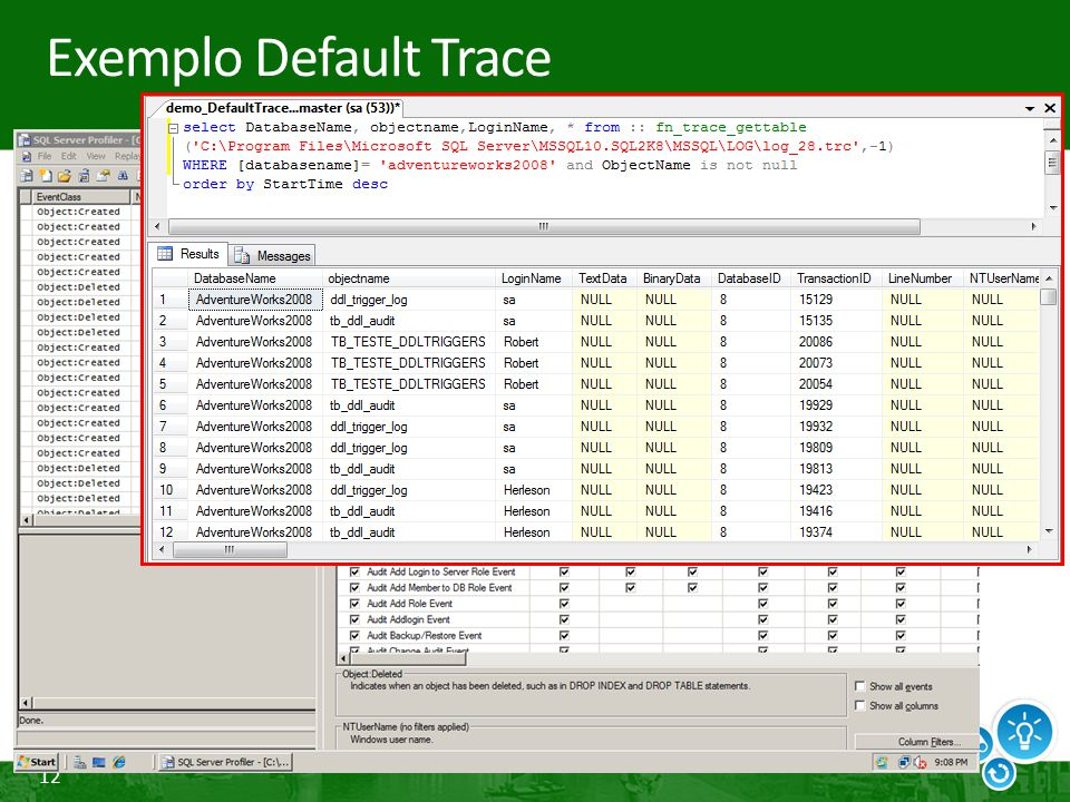Exemplo Default Trace