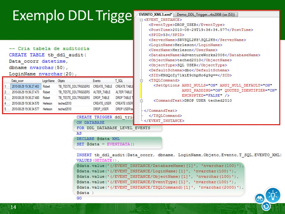 Exemplo DDL Triggers
