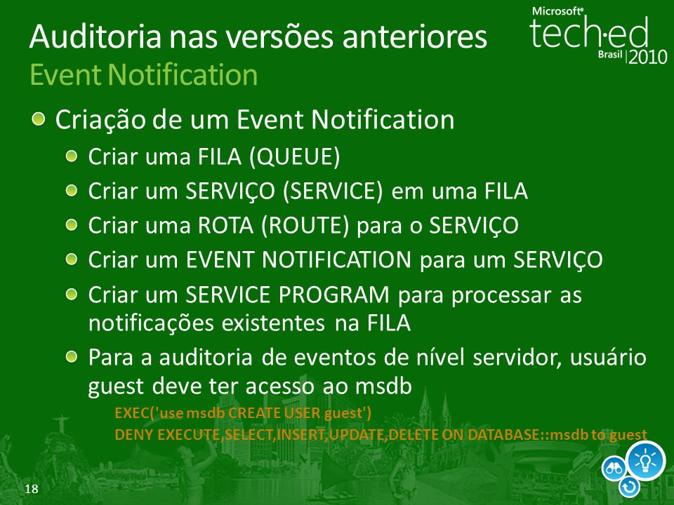 Auditoria nas versões anteriores Event Notification