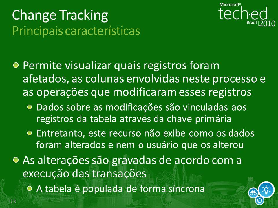 Change Tracking Principais características