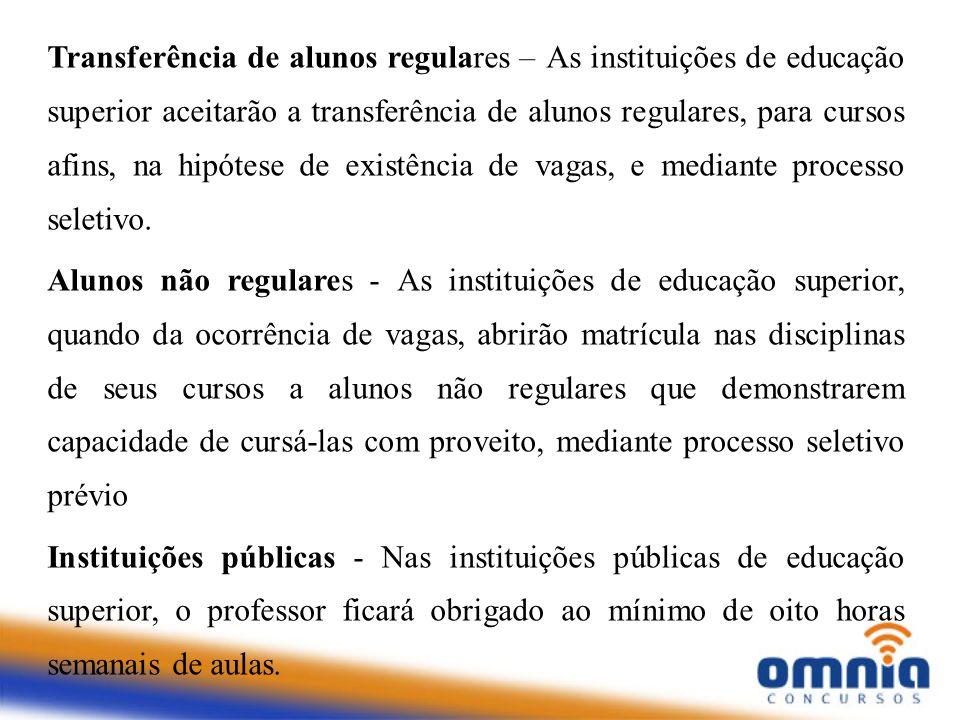 Transferência de alunos regulares – As instituições de educação superior aceitarão a transferência de alunos regulares, para cursos afins, na hipótese de existência de vagas, e mediante processo seletivo.