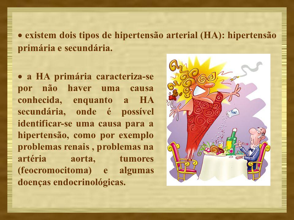 · existem dois tipos de hipertensão arterial (HA): hipertensão primária e secundária.