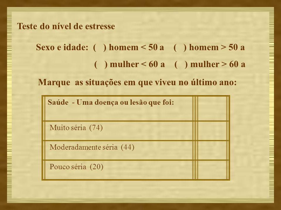 Sexo e idade: ( ) homem < 50 a ( ) homem > 50 a