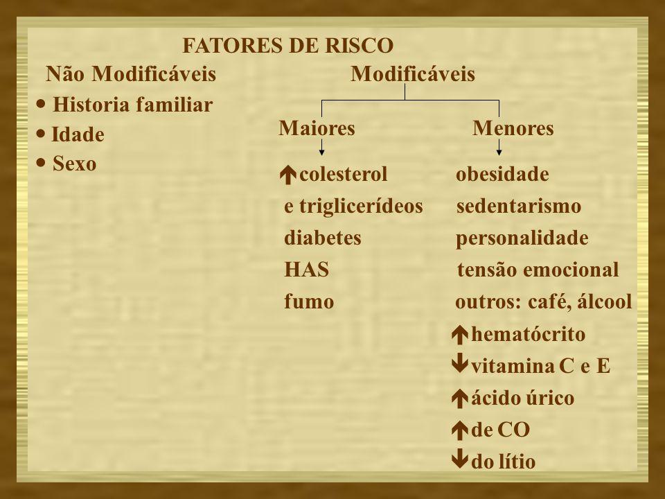 FATORES DE RISCO Modificáveis. Maiores Menores. colesterol obesidade. e triglicerídeos sedentarismo.