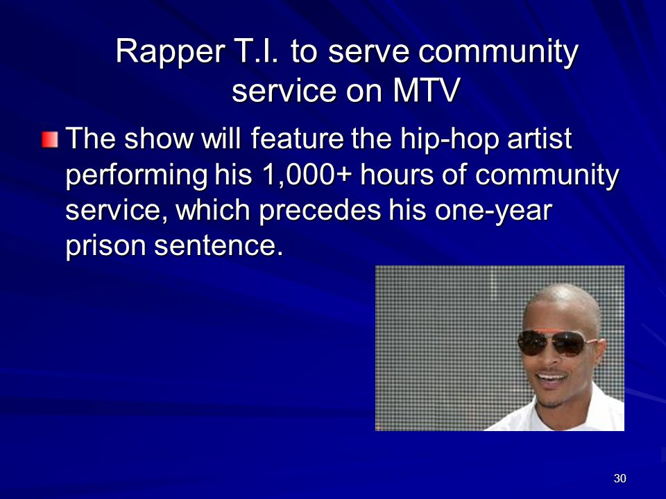 Rapper T.I. to serve community service on MTV