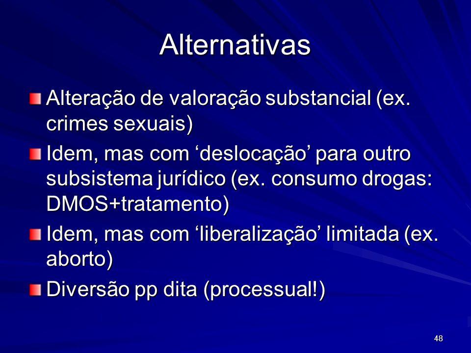 Alternativas Alteração de valoração substancial (ex. crimes sexuais)