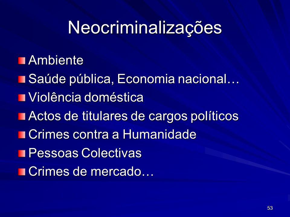 Neocriminalizações Ambiente Saúde pública, Economia nacional…
