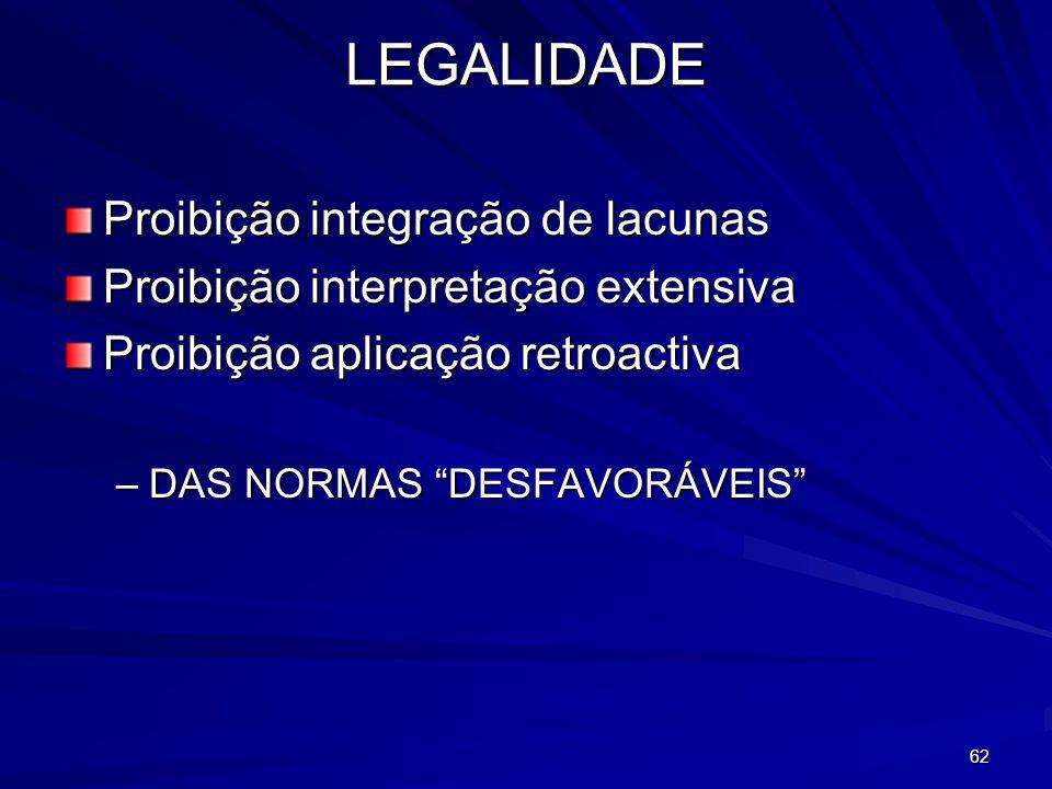 LEGALIDADE Proibição integração de lacunas