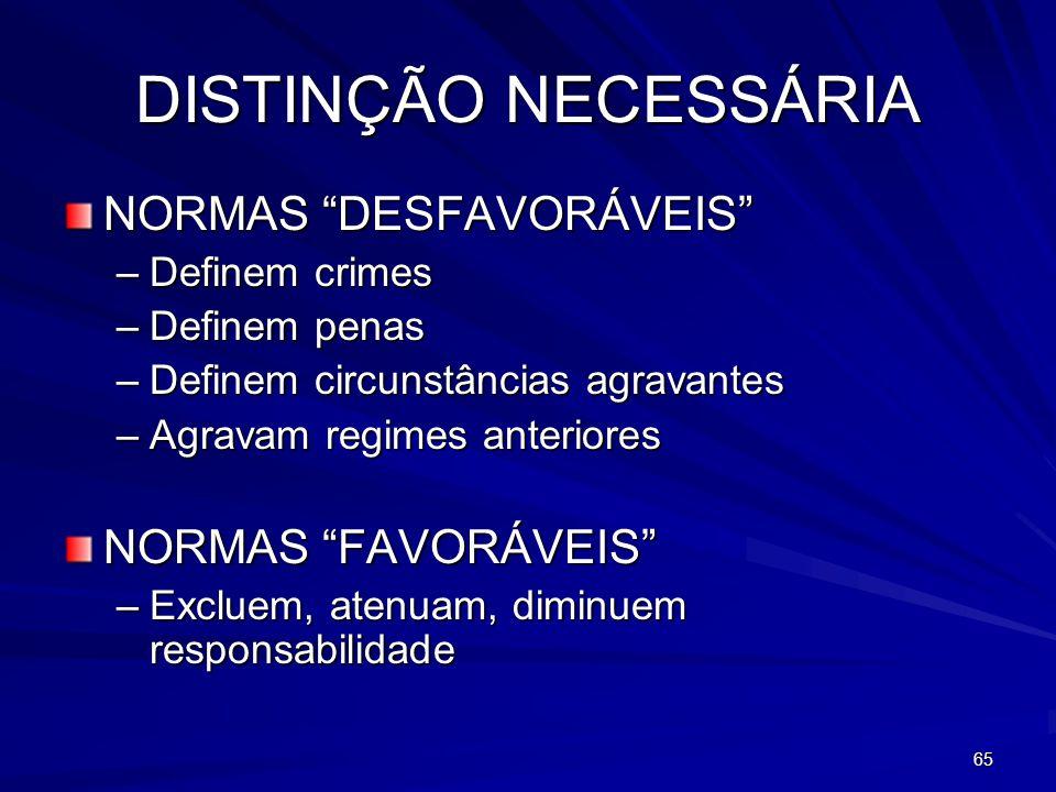 DISTINÇÃO NECESSÁRIA NORMAS DESFAVORÁVEIS NORMAS FAVORÁVEIS