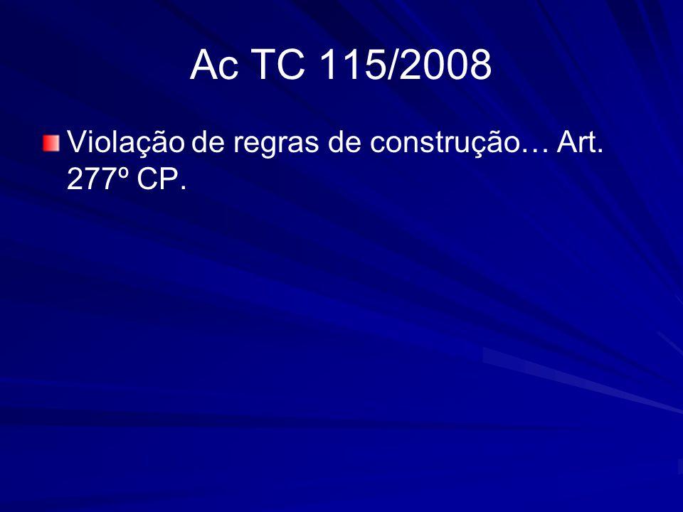 Ac TC 115/2008 Violação de regras de construção… Art. 277º CP.