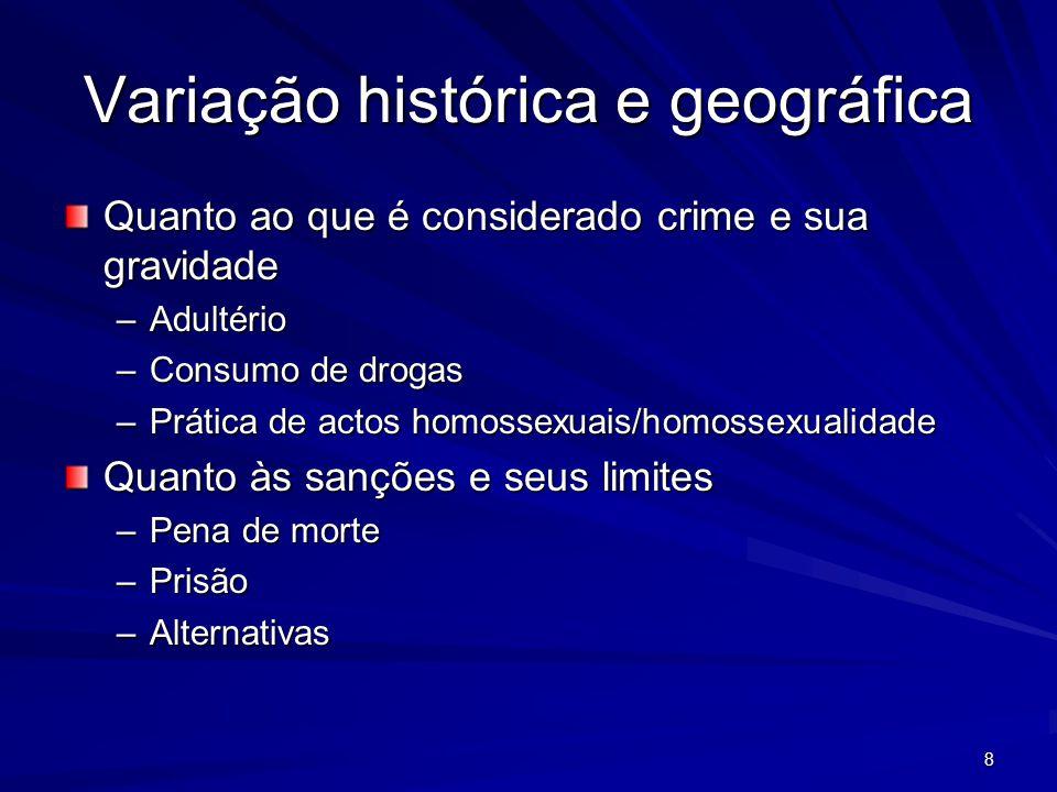 Variação histórica e geográfica