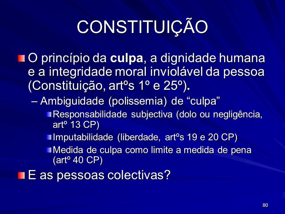 CONSTITUIÇÃO O princípio da culpa, a dignidade humana e a integridade moral inviolável da pessoa (Constituição, artºs 1º e 25º).