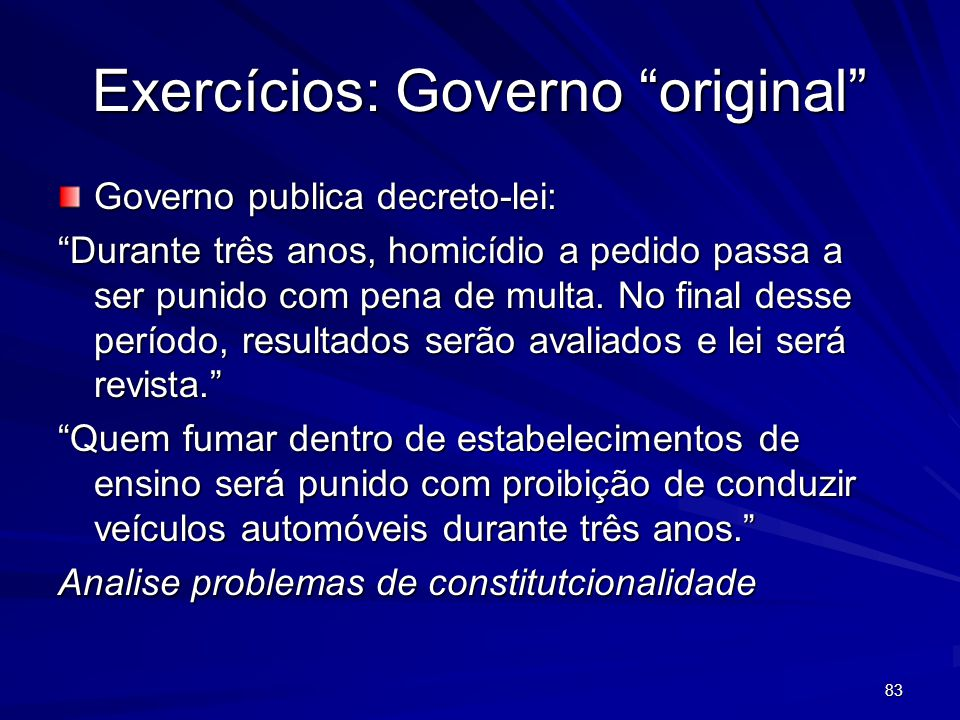 Exercícios: Governo original