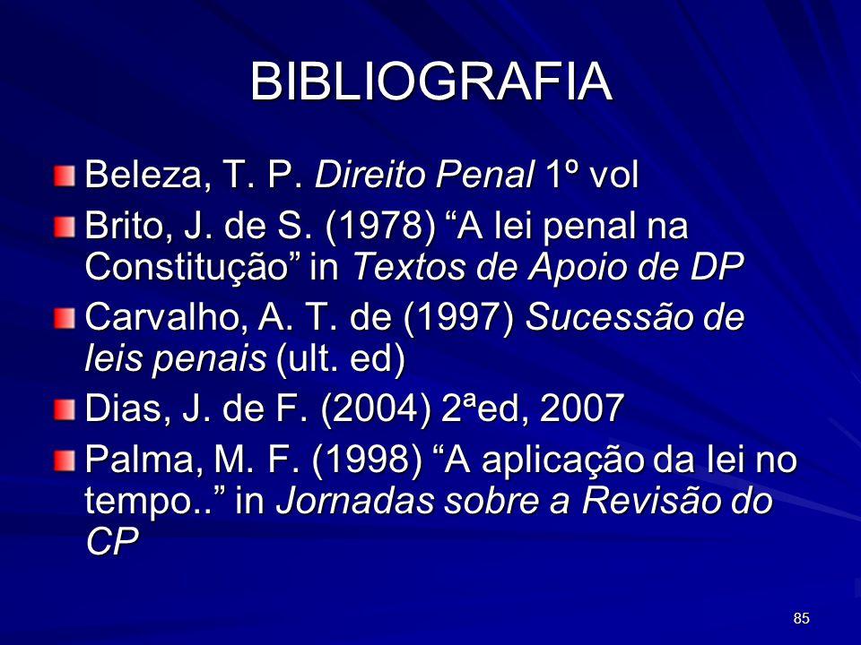 BIBLIOGRAFIA Beleza, T. P. Direito Penal 1º vol