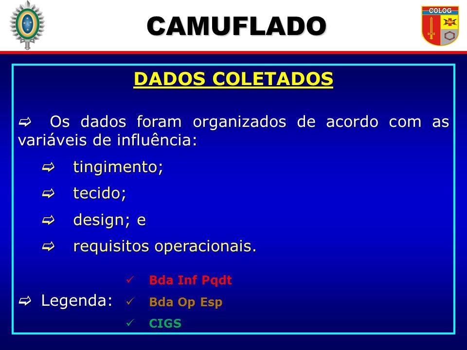 CAMUFLADO DADOS COLETADOS