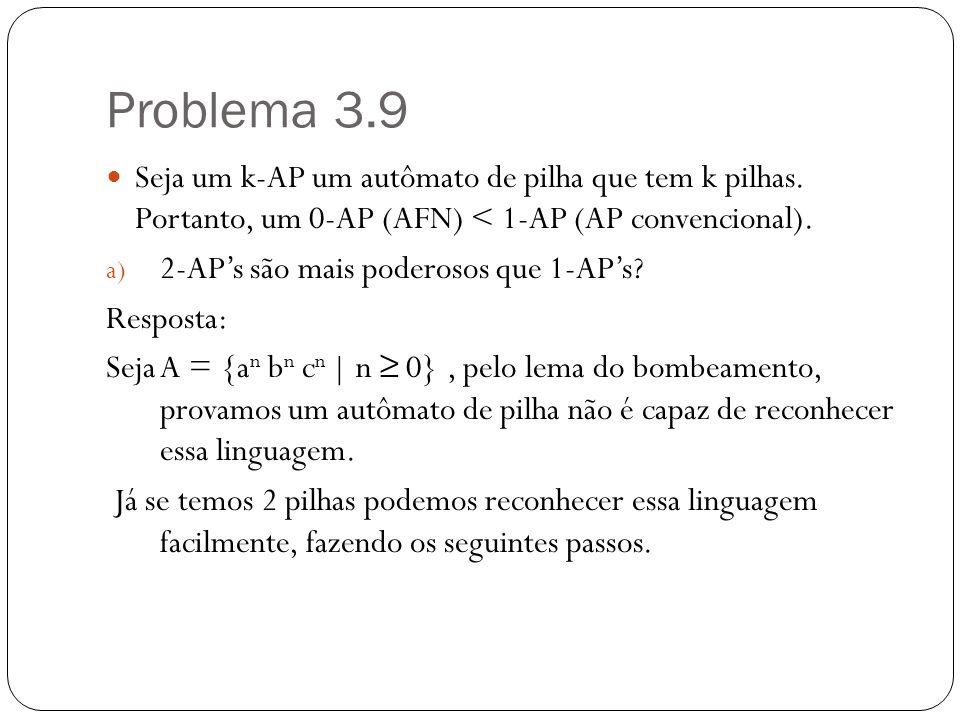 Problema 3.9 Seja um k-AP um autômato de pilha que tem k pilhas. Portanto, um 0-AP (AFN) < 1-AP (AP convencional).