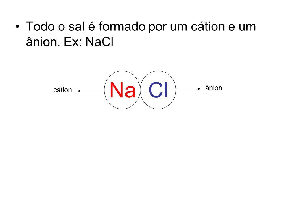 Na Cl Todo o sal é formado por um cátion e um ânion. Ex: NaCl ânion