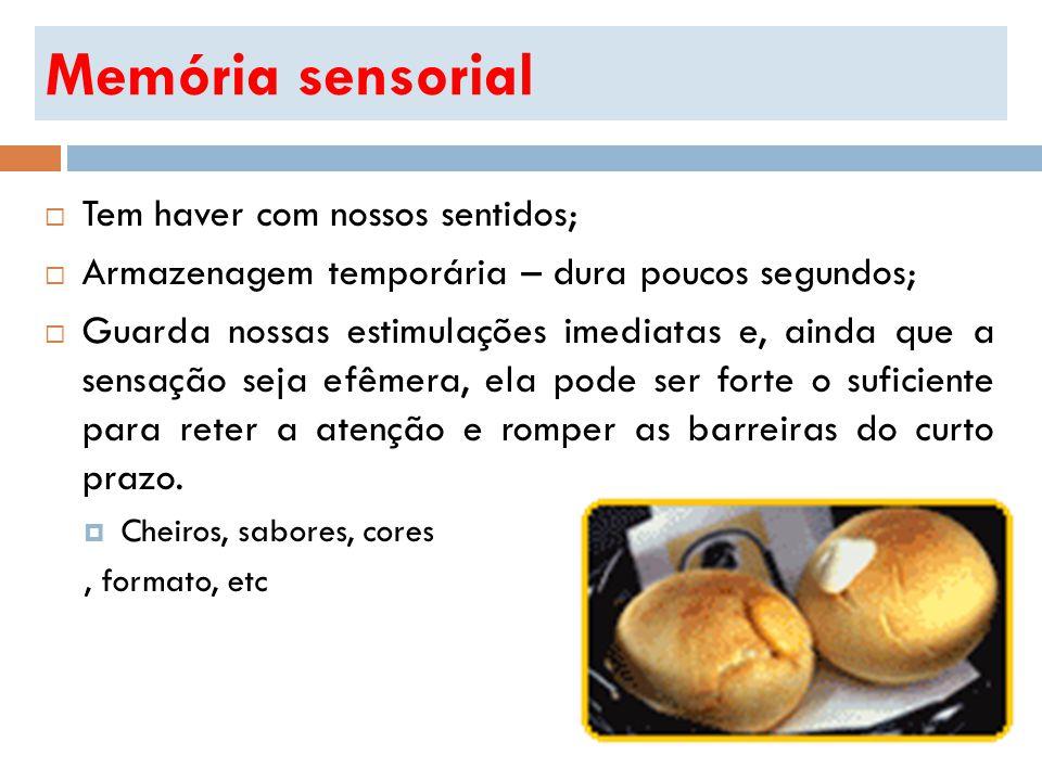 Memória sensorial Tem haver com nossos sentidos;