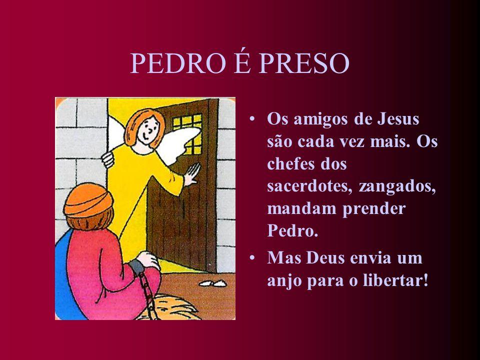 PEDRO É PRESO Os amigos de Jesus são cada vez mais. Os chefes dos sacerdotes, zangados, mandam prender Pedro.
