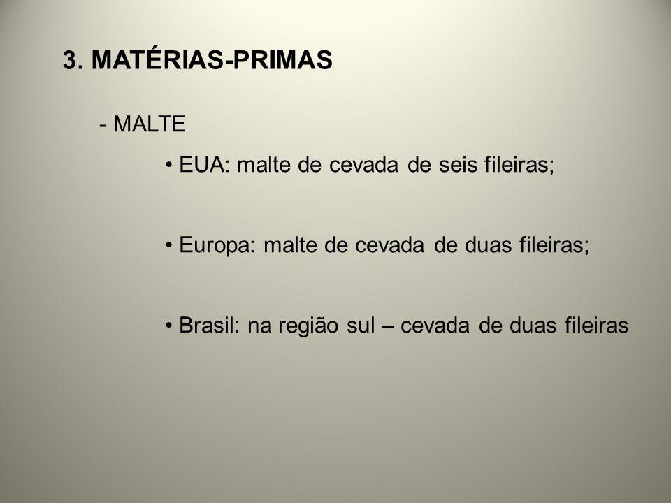 3. Matérias-primas MALTE EUA: malte de cevada de seis fileiras;