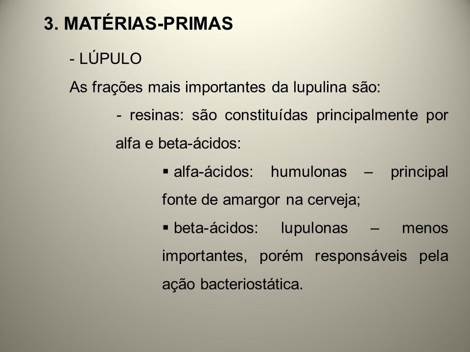 3. Matérias-primas LÚPULO As frações mais importantes da lupulina são: