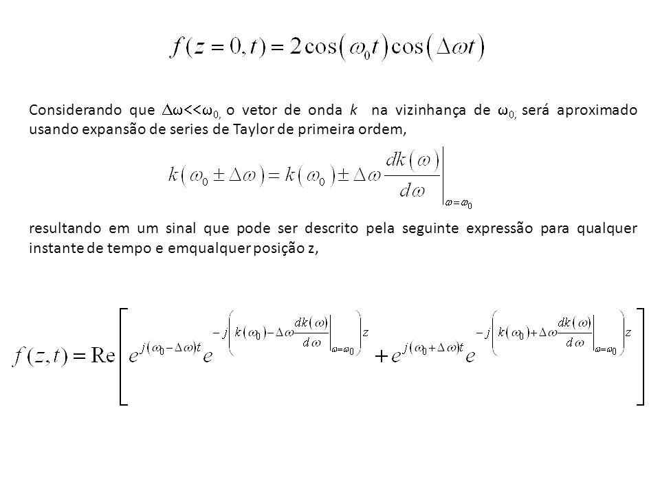 Considerando que Dw<<w0, o vetor de onda k na vizinhança de w0, será aproximado usando expansão de series de Taylor de primeira ordem,