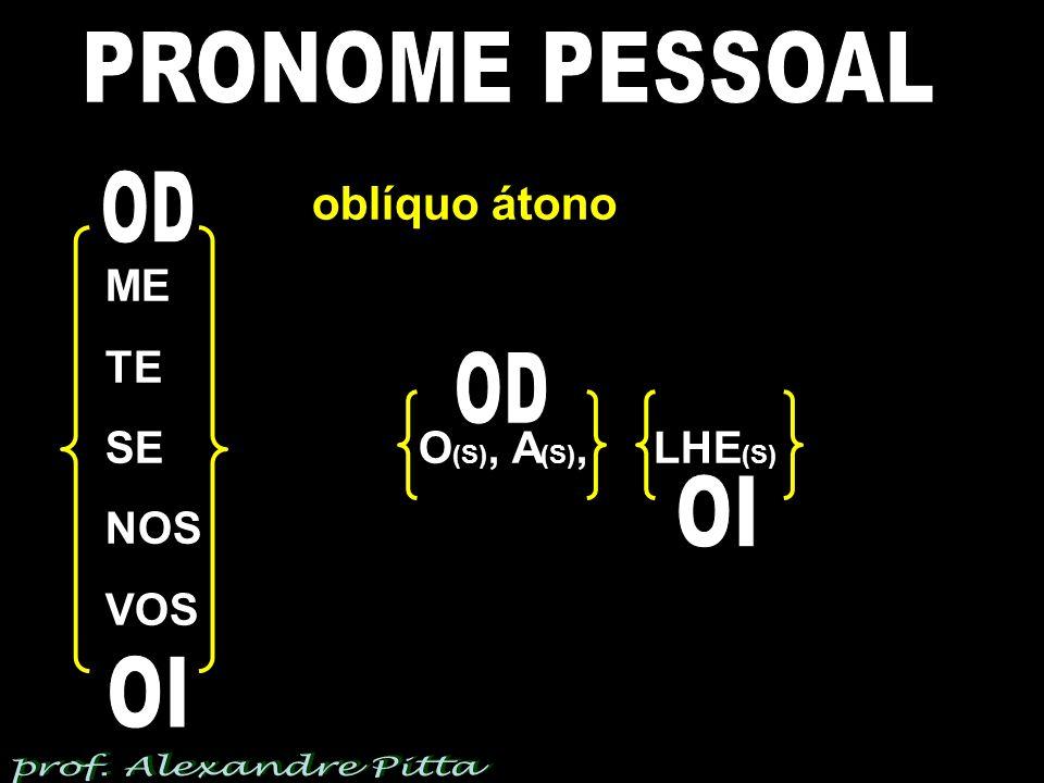 PRONOME PESSOAL OD OD OI OI oblíquo átono ME TE SE O(S), A(S), LHE(S)