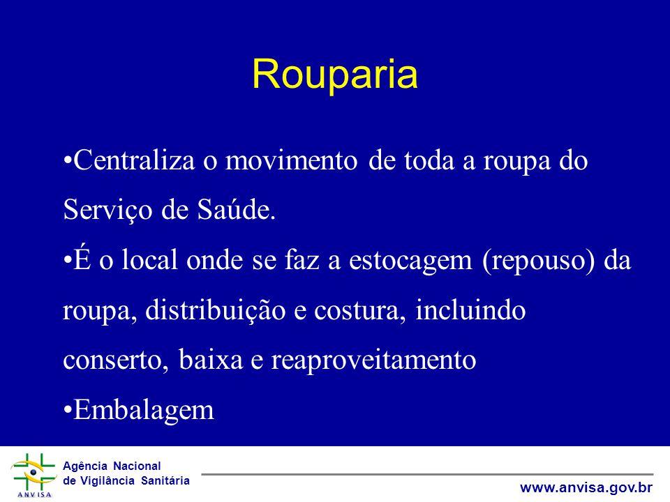 Rouparia Centraliza o movimento de toda a roupa do Serviço de Saúde.