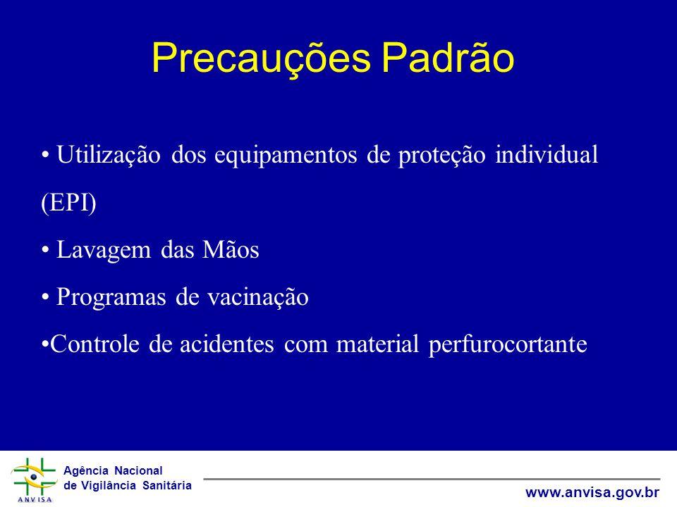 Precauções Padrão Utilização dos equipamentos de proteção individual (EPI) Lavagem das Mãos. Programas de vacinação.