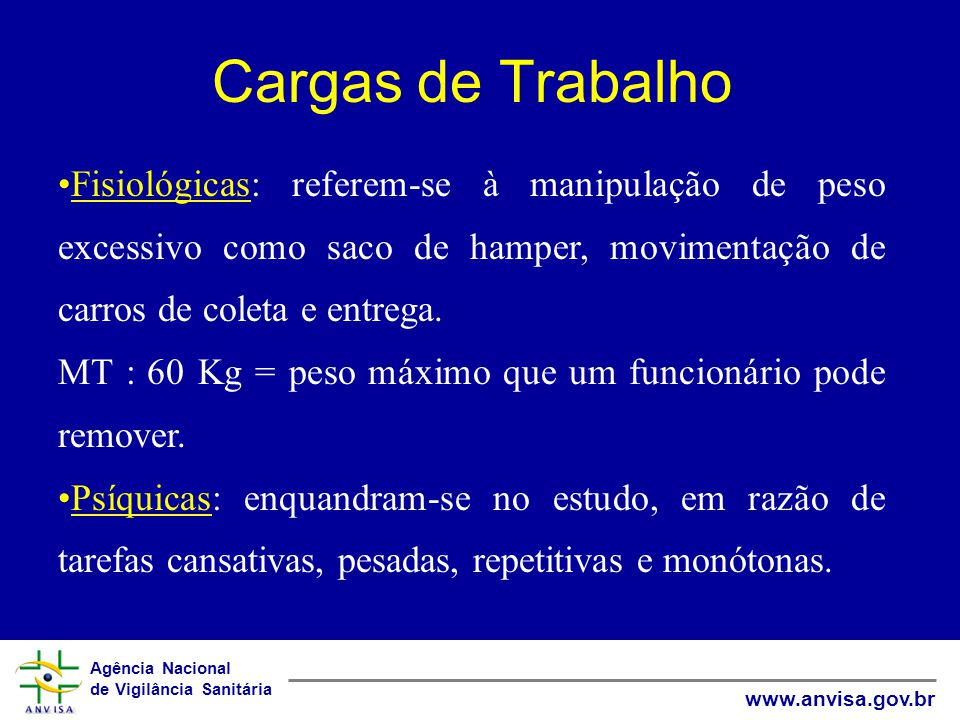 Cargas de Trabalho Fisiológicas: referem-se à manipulação de peso excessivo como saco de hamper, movimentação de carros de coleta e entrega.