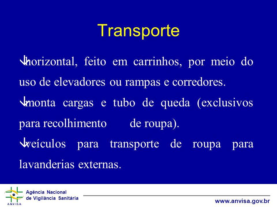 Transporte horizontal, feito em carrinhos, por meio do uso de elevadores ou rampas e corredores.