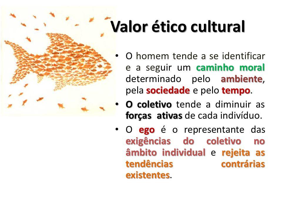Valor ético cultural O homem tende a se identificar e a seguir um caminho moral determinado pelo ambiente, pela sociedade e pelo tempo.