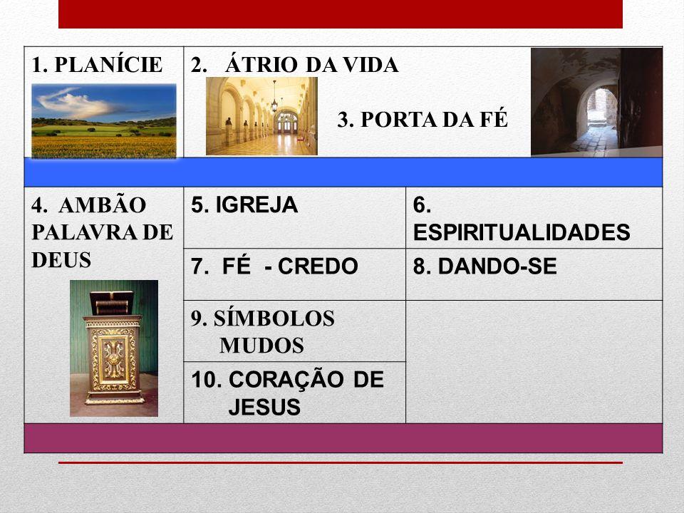 1. PLANÍCIE ÁTRIO DA VIDA. 3. PORTA DA FÉ. 4. AMBÃO PALAVRA DE DEUS. 5. IGREJA. 6. ESPIRITUALIDADES.