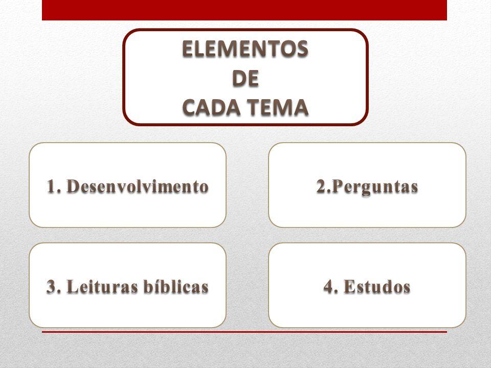 ELEMENTOS DE CADA TEMA 1. Desenvolvimento 2.Perguntas