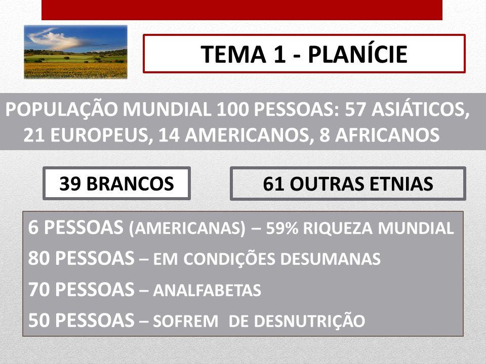 TEMA 1 - PLANÍCIE POPULAÇÃO MUNDIAL 100 PESSOAS: 57 ASIÁTICOS, 21 EUROPEUS, 14 AMERICANOS, 8 AFRICANOS.