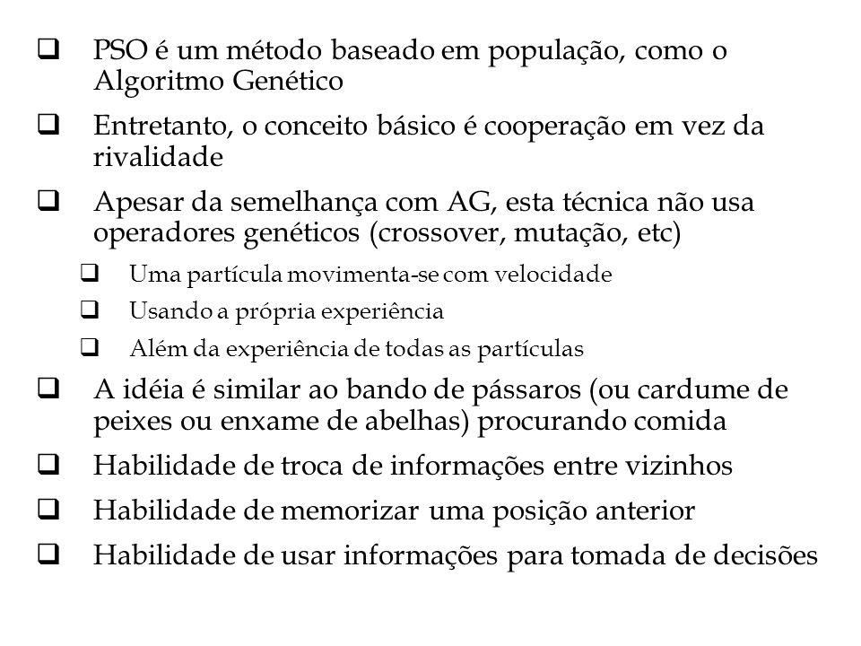 PSO é um método baseado em população, como o Algoritmo Genético
