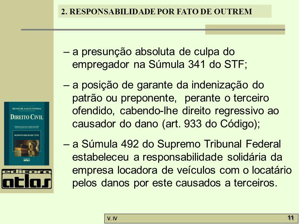 – a presunção absoluta de culpa do empregador na Súmula 341 do STF;