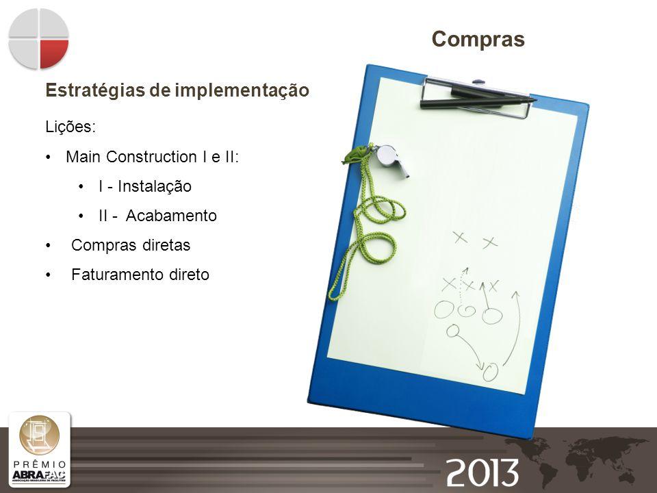 Compras Estratégias de implementação Lições: Main Construction I e II: