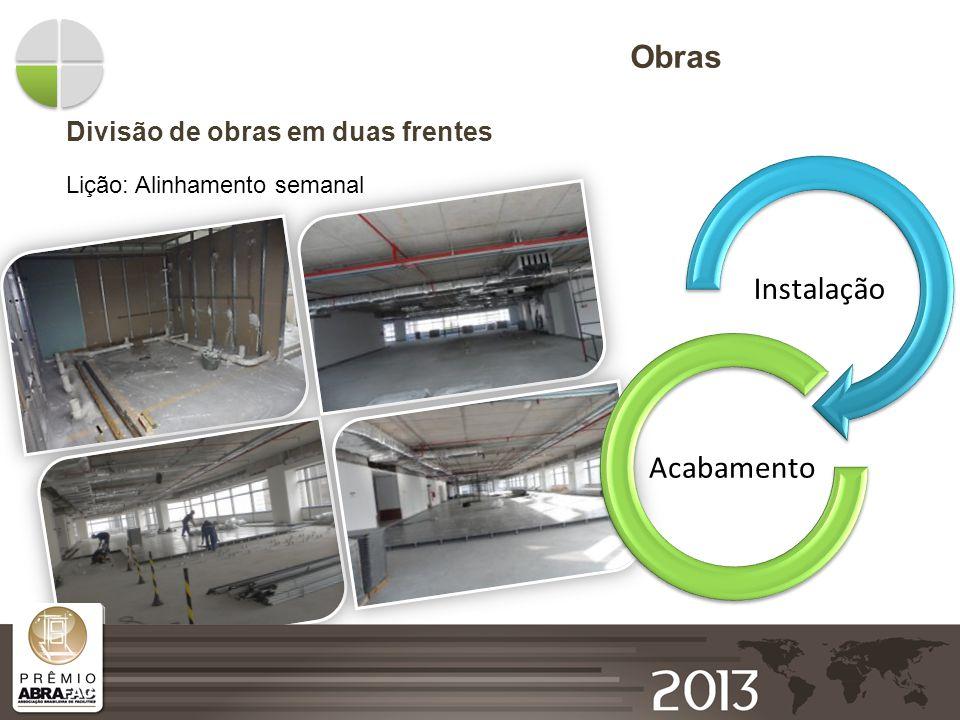 Obras Instalação Acabamento Divisão de obras em duas frentes
