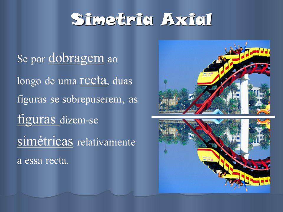 Simetria Axial Se por dobragem ao longo de uma recta, duas figuras se sobrepuserem, as figuras dizem-se simétricas relativamente a essa recta.