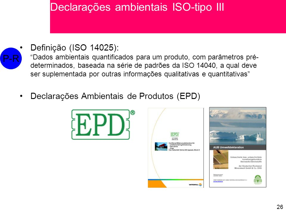 Declarações ambientais ISO-tipo III